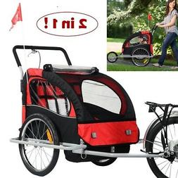 Bike Trailer for Kids 2 in 1 Double Stroller Bicycle Baby Ca