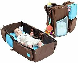 Mo+m Diaper Bag/Changing Pad/Travel Infant Bed with Pockets