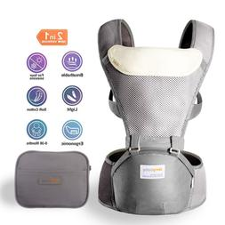 Jerrybaby Baby Carrier with Hip Seat- 2 in 1 Lightweight & E