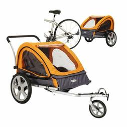 Bike Trailer for Kids Stroller 2-in-1 Double Twin Seat Baby