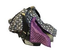 BayB Brand Car Seat Cover - Grey Arrows w/ Purple