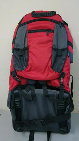 Deluxe Red Baby Back Pack Cross Country Carrier Stand Child