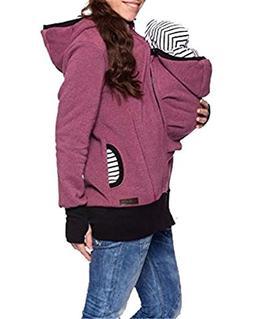 Fenxxxl Women's Fleece Zip Up Baby Carrier Jacket Kangaroo S
