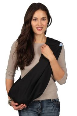 HugaMonkey Soft Cotton Infant Wrap Carrier Black Baby Sling