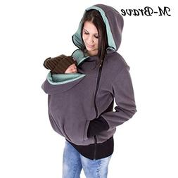 Women Kangaroo Fleece Zip Up Maternity Pullover Sweatshirt H