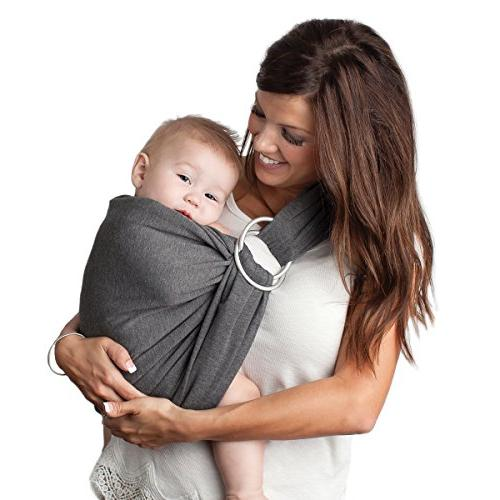 4 1 Wrap and Ring Sling Such | Charcoal Cotton | Use as a Nursing Cover with Carrying Baby Boys Girls