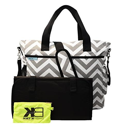 Baby K'tan Diaper Changing Bag, pockets, Straps and Machine Washable - Chevron Canvas