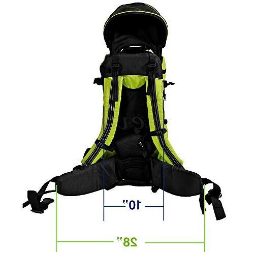 Clevr Deluxe Toddler Backpack Cross Carrier Kid Shade Visor, Green