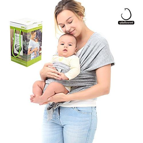 Innoo Carrier Baby Wrap Suitable Newborns lbs Breastfeeding Soft Safe and Comfortable Nice Shower Gray