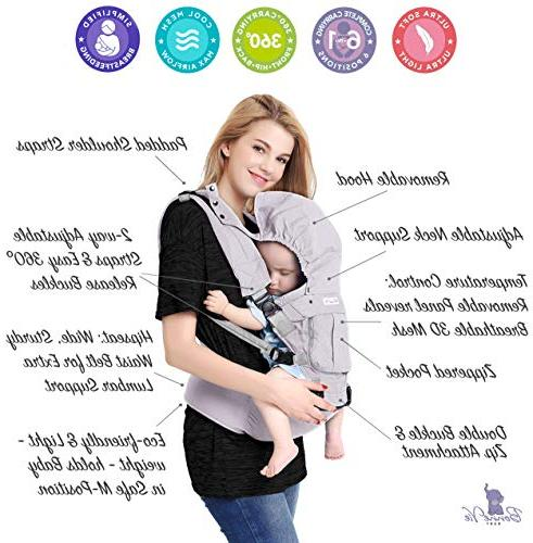 Bonne Vie for Toddler & - Organic Backpack Sling - All Seasons Nursing, Hiking Travel - Adjustable XS XL