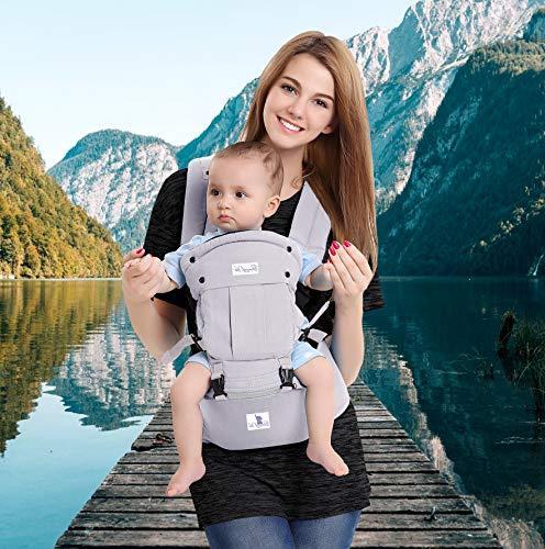 Bonne Vie Baby Carrier Hip Seat for Toddler & Infants - Organic Cotton Backpack Sling - 6-in-1 All Seasons - Nursing, - XL