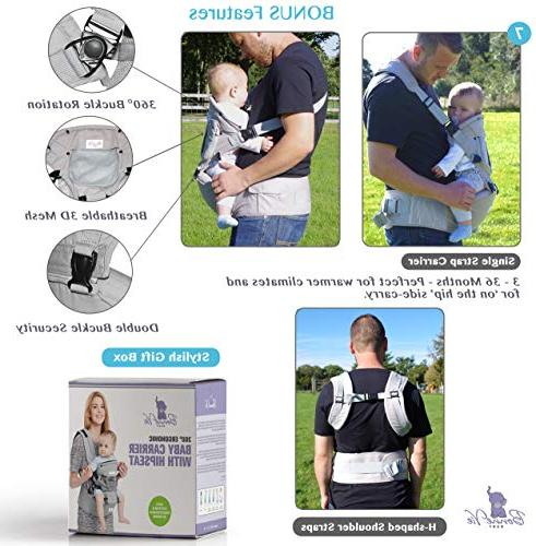 Bonne Baby Carrier Seat for & Infants - Organic Sling 6-in-1 Seasons Perfect Nursing, Hiking & - XS XL