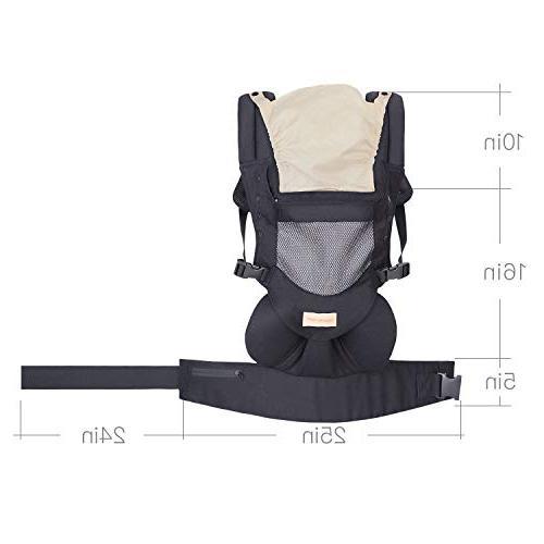 Infant Toddler Baby Wrap Backpack Back, Hip Seat Hood, Soft Cotton, Cool Black