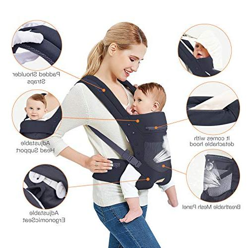Infant Toddler Wrap Front and Back, Hip Seat & Hood, Soft & Breathable Cotton, Black