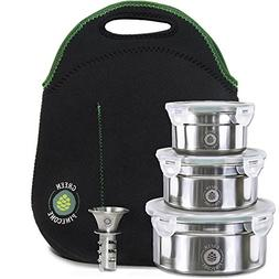 Leakproof Stainless Steel Lunchbox Set. 3 Containers & Therm