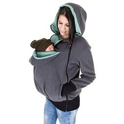 Womens Maternity Kangaroo Hoodies Fleece 3PCS Zipper Up Hood