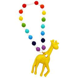 Nummy Beads Rainbow Yellow Giraffe Teether Toy Attaches To B