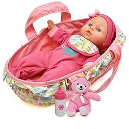 Baby Doll Feeding Set, 12 Inch Soft Body Baby Doll with Carr