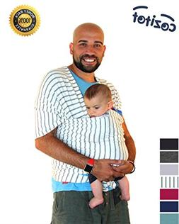 Striped Grey Baby Sling Carrier Wrap by Cozitot | Soft & Str