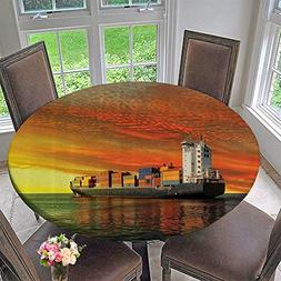 Premium Tablecloth gineering Carrier Ship ery with Hazy Sky