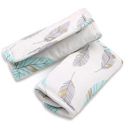 Turquoise and Grey Feathers Car Seat and Stroller Strap Cove