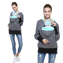 Womens Maternity Kangaroo Hooded Sweatshirt for Baby Carrier