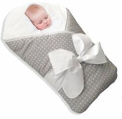 BundleBee Baby WrapSwaddleBlanket, Feather LightGrey Polka D