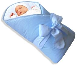 BundleBee Baby WrapSwaddleBlanket, Feather LightBlue, 0-4 Mo